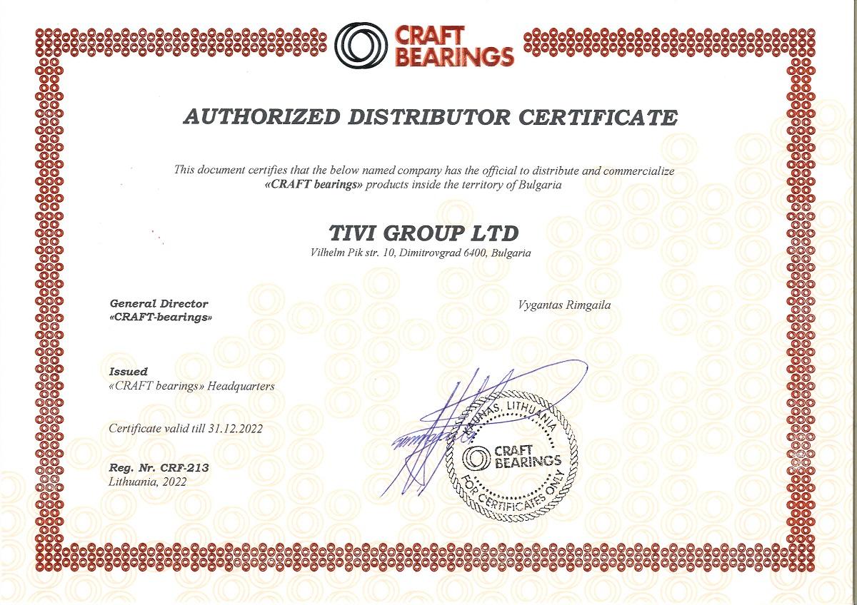 Certificate CRAFT Bearings