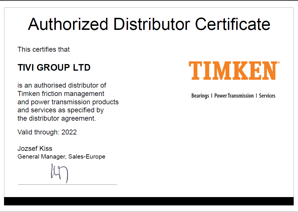 Certificate TIMKEN