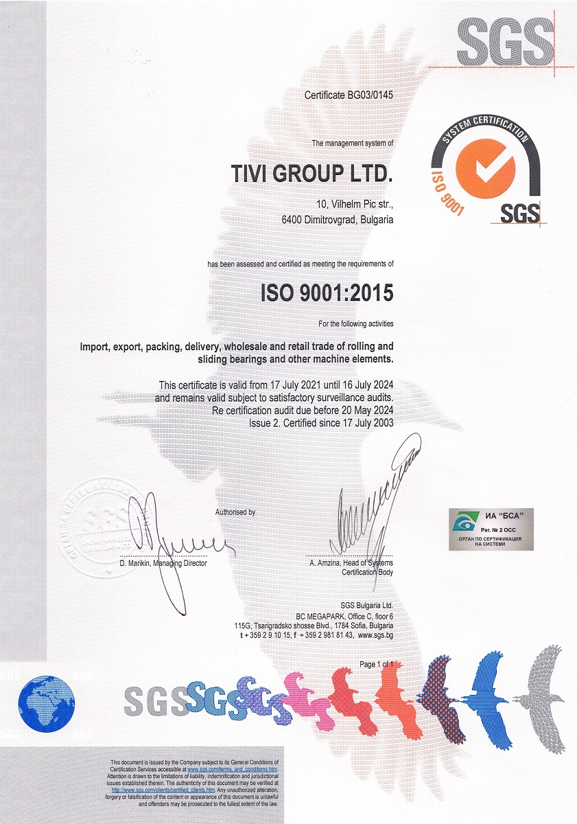 Certificate SGS