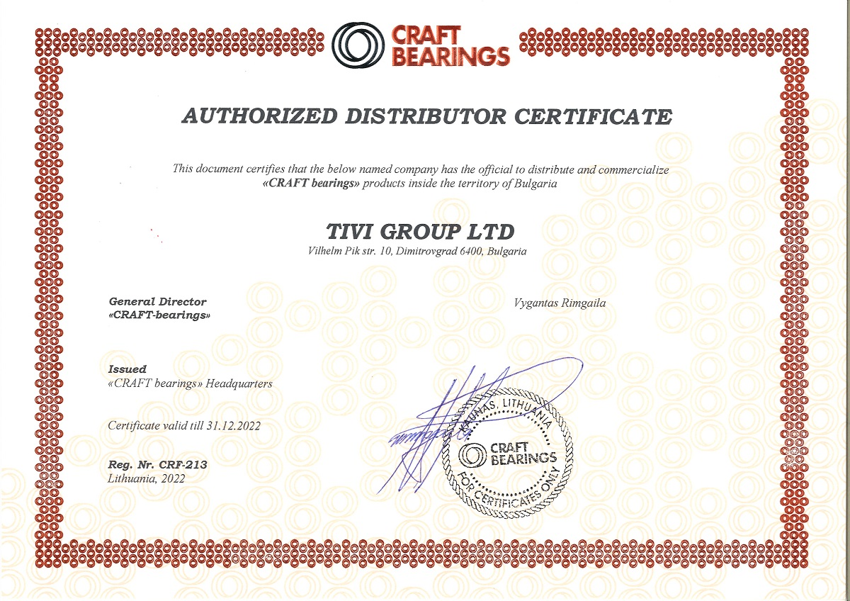 Certificate CRAFT Bearings